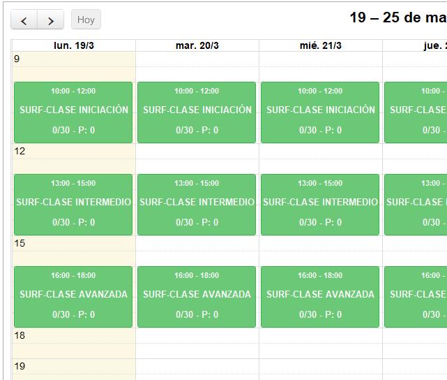 Calendario - Programa para la gestión de tu escuela de Surf